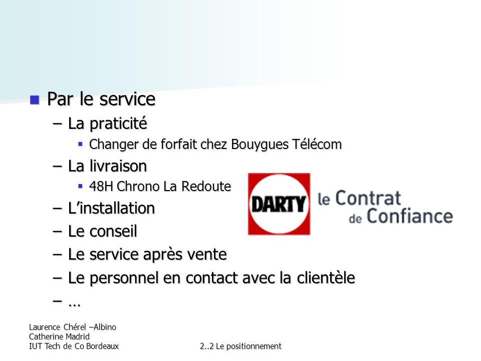 Laurence Chérel –Albino Catherine Madrid IUT Tech de Co Bordeaux2..2 Le positionnement Par le service Par le service –La praticité Changer de forfait