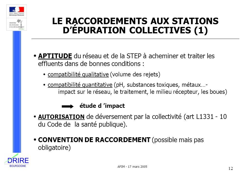 12 AFIM - 17 mars 2005 LE RACCORDEMENTS AUX STATIONS DÉPURATION COLLECTIVES (1) APTITUDE du réseau et de la STEP à acheminer et traiter les effluents