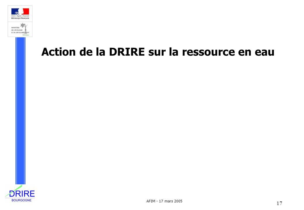 17 AFIM - 17 mars 2005 Action de la DRIRE sur la ressource en eau
