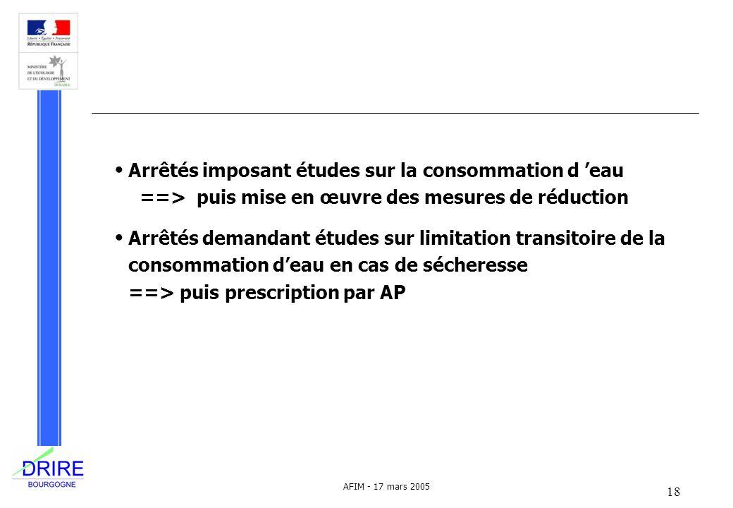 18 AFIM - 17 mars 2005 Arrêtés imposant études sur la consommation d eau ==> puis mise en œuvre des mesures de réduction Arrêtés demandant études sur