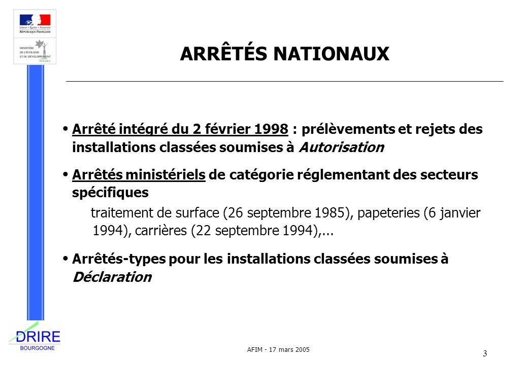 3 AFIM - 17 mars 2005 ARRÊTÉS NATIONAUX Arrêté intégré du 2 février 1998 : prélèvements et rejets des installations classées soumises à Autorisation A