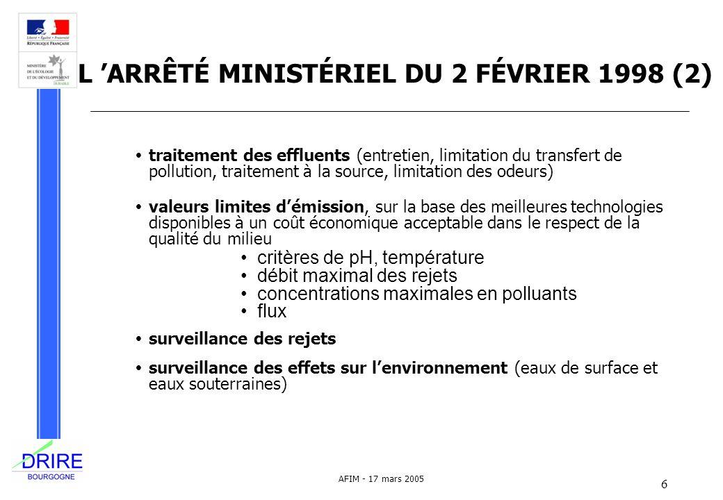 6 AFIM - 17 mars 2005 L ARRÊTÉ MINISTÉRIEL DU 2 FÉVRIER 1998 (2) traitement des effluents (entretien, limitation du transfert de pollution, traitement