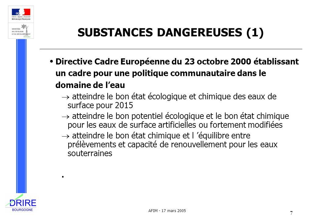 8 AFIM - 17 mars 2005 SUBSTANCES DANGEREUSES (2) Action de recherche de substances dangereuses dans les rejets des installations classées : circulaire du ministère de l écologie du 4 février 2002 5000 établissements au niveau national 150 établissements en Bourgogne 87 substances tests écotoxicologiques sur environ 10% des établissements synthèse 2006-2007
