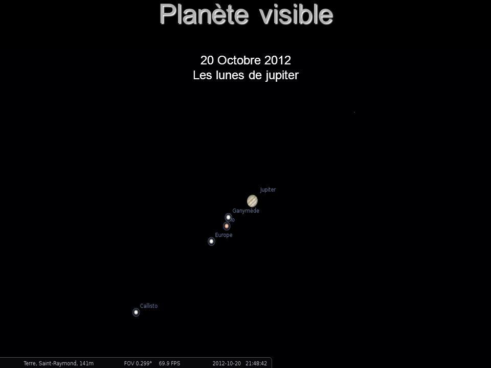 Planète visible 20 Octobre 2012 Les lunes de jupiter