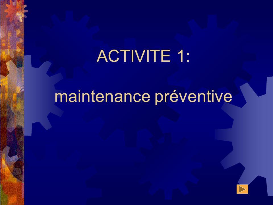 ACTIVITE 1: maintenance préventive