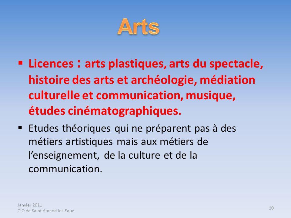 Janvier 2011 CIO de Saint Amand les Eaux 10 Licences : arts plastiques, arts du spectacle, histoire des arts et archéologie, médiation culturelle et c