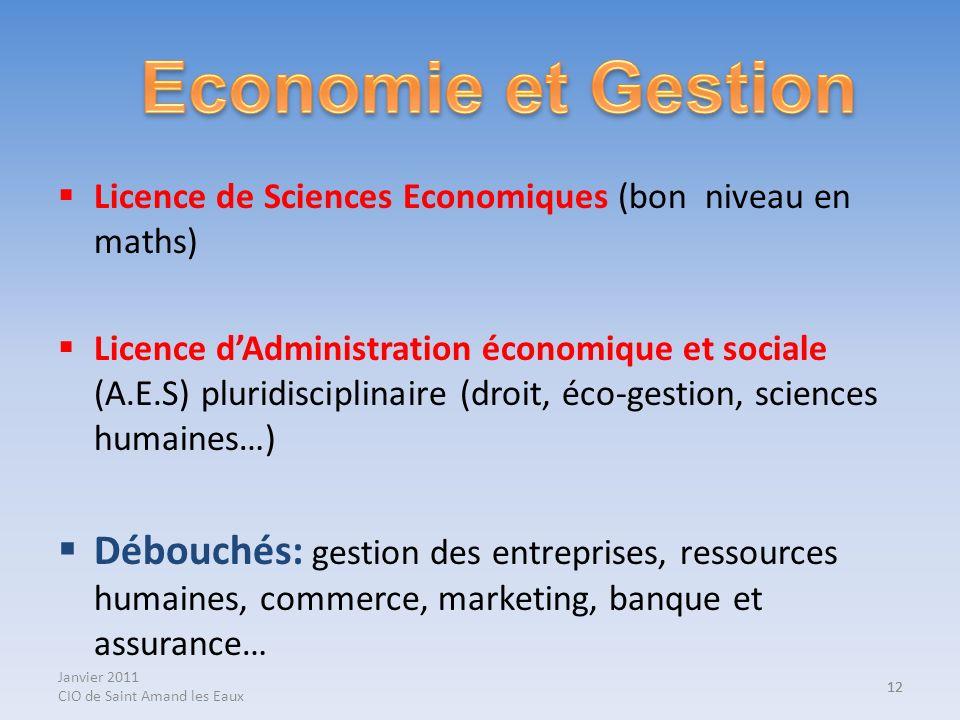 Janvier 2011 CIO de Saint Amand les Eaux 12 Licence de Sciences Economiques (bon niveau en maths) Licence dAdministration économique et sociale (A.E.S