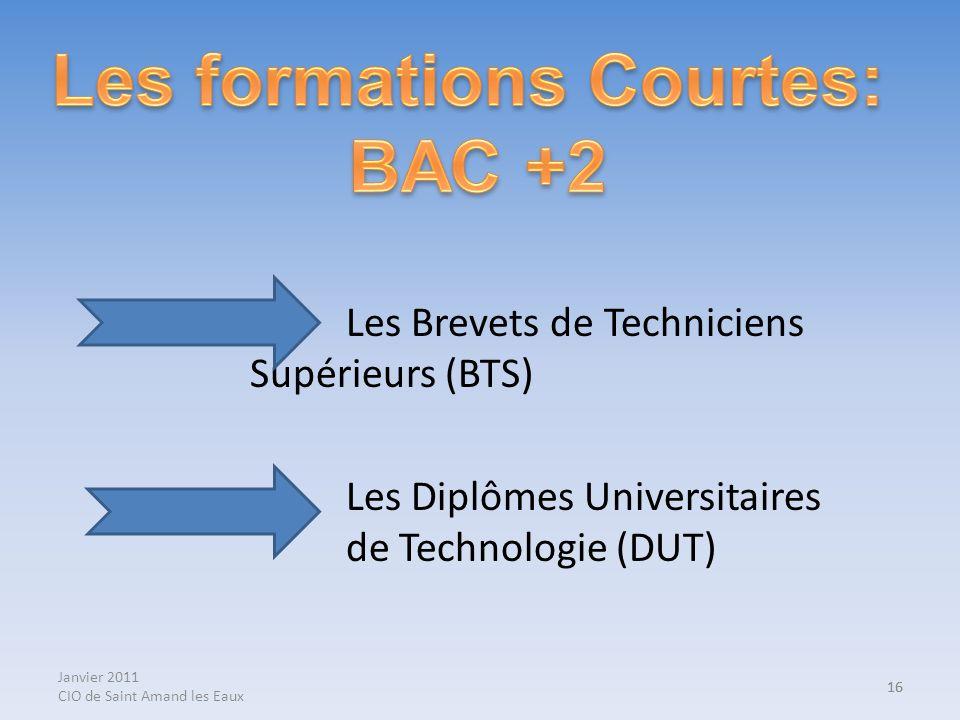 Janvier 2011 CIO de Saint Amand les Eaux 16 Les Brevets de Techniciens Supérieurs (BTS) Les Diplômes Universitaires de Technologie (DUT) 16