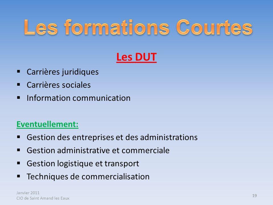 Janvier 2011 CIO de Saint Amand les Eaux 19 Les DUT Carrières juridiques Carrières sociales Information communication Eventuellement: Gestion des entr