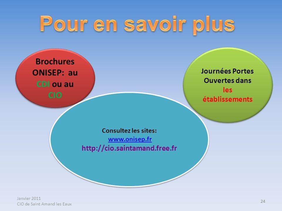 Janvier 2011 CIO de Saint Amand les Eaux 24 Brochures ONISEP: au CDI ou au CIO Journées Portes Ouvertes dans les établissements Consultez les sites: w