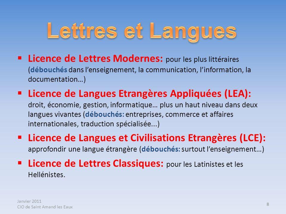 Janvier 2011 CIO de Saint Amand les Eaux 8 Licence de Lettres Modernes: pour les plus littéraires (débouchés dans lenseignement, la communication, lin