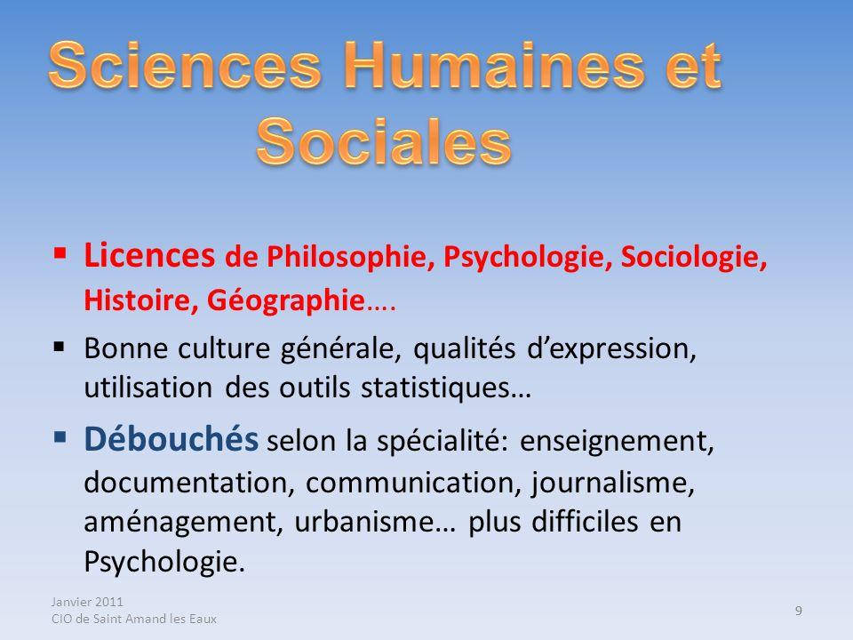 Janvier 2011 CIO de Saint Amand les Eaux 9 Licences de Philosophie, Psychologie, Sociologie, Histoire, Géographie…. Bonne culture générale, qualités d