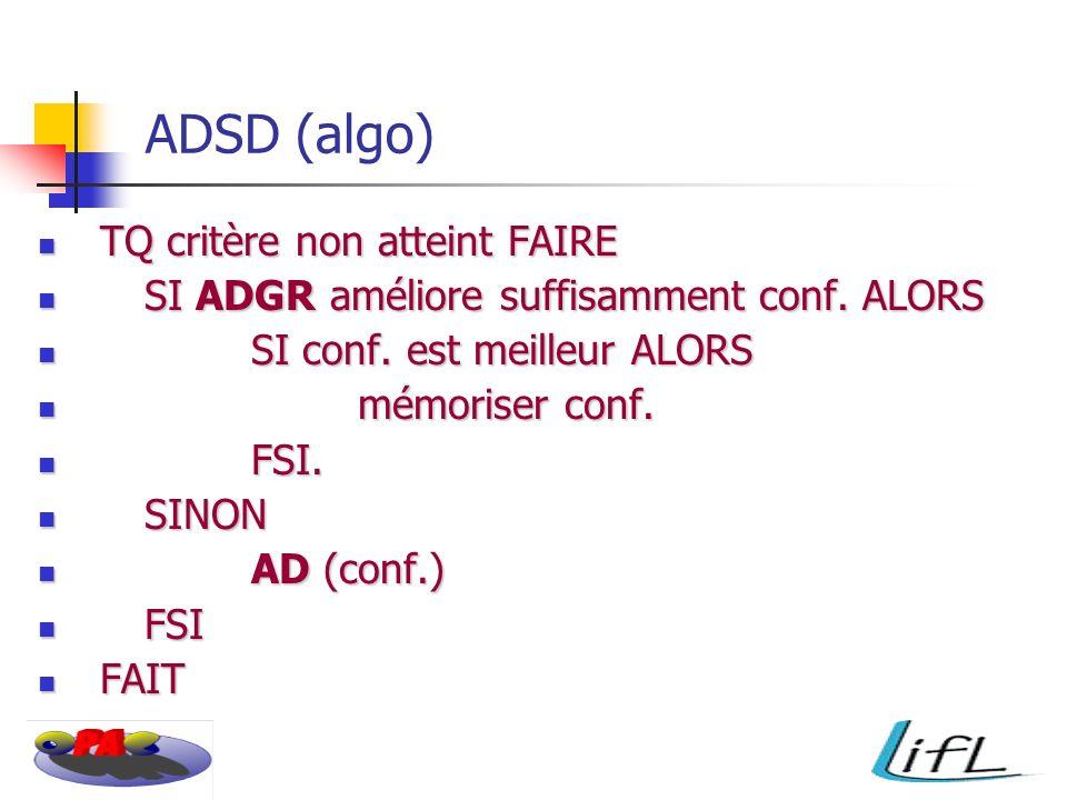 ADSD (algo) TQ critère non atteint FAIRE TQ critère non atteint FAIRE SI ADGR améliore suffisamment conf.