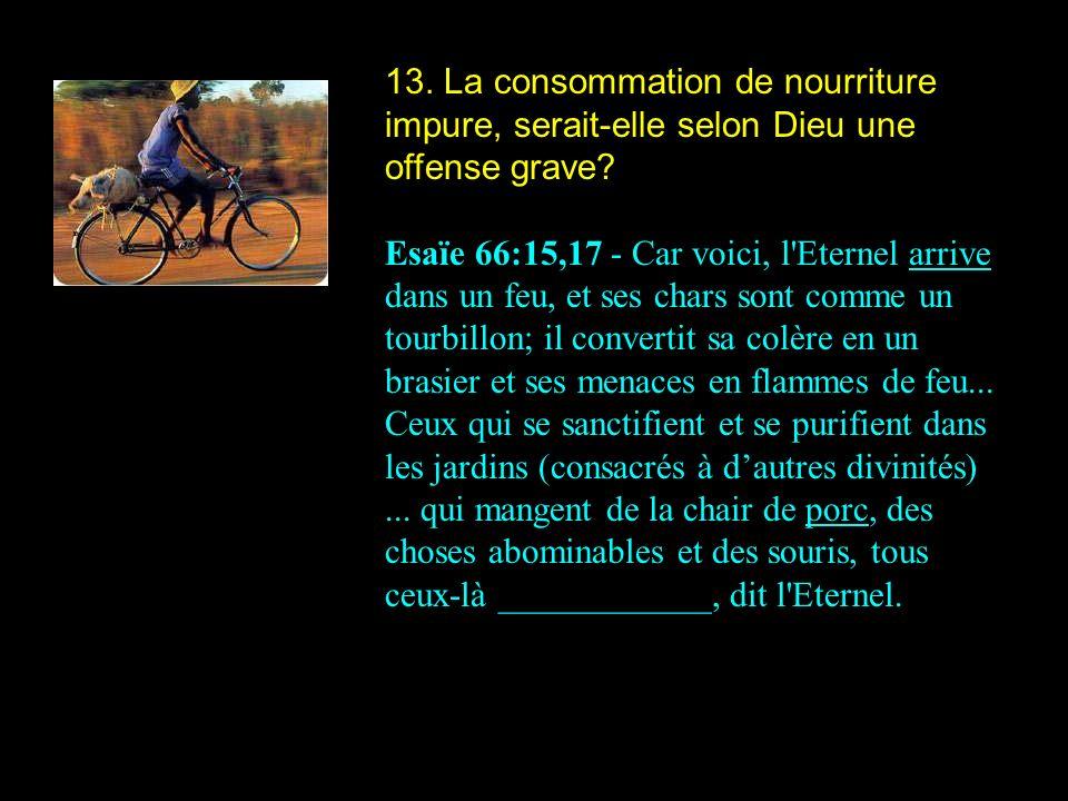 13. La consommation de nourriture impure, serait-elle selon Dieu une offense grave? Esaïe 66:15,17 - Car voici, l'Eternel arrive dans un feu, et ses c