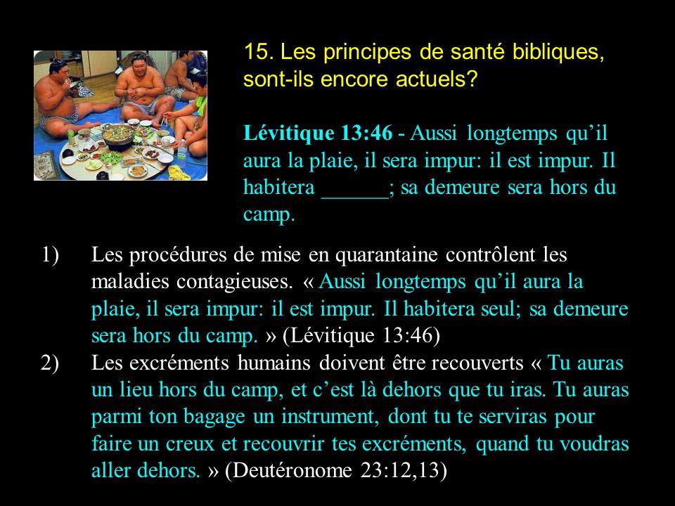 15. Les principes de santé bibliques, sont-ils encore actuels? Lévitique 13:46 - Aussi longtemps quil aura la plaie, il sera impur: il est impur. Il h