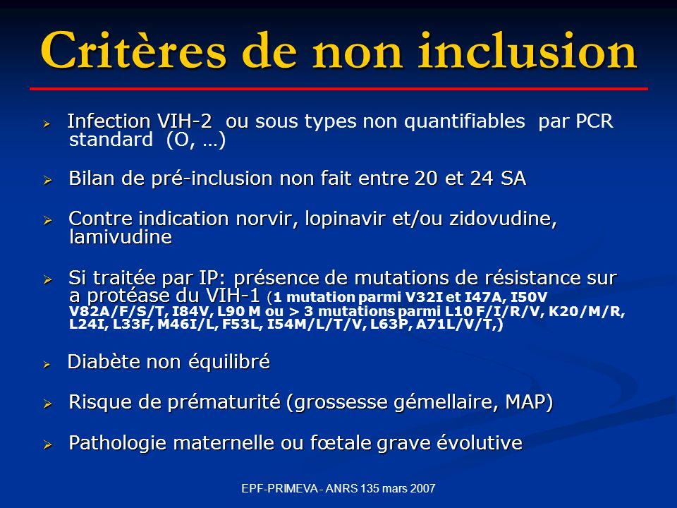 EPF-PRIMEVA - ANRS 135 mars 2007 Infection VIH-2 ou Infection VIH-2 ou sous types non quantifiables par PCR standard (O, …) Bilan de pré-inclusion non fait entre 20 et 24 SA Bilan de pré-inclusion non fait entre 20 et 24 SA Contre indication norvir, lopinavir et/ou zidovudine, lamivudine Contre indication norvir, lopinavir et/ou zidovudine, lamivudine Si traitée par IP: présence de mutations de résistance sur a protéase du VIH-1 ( Si traitée par IP: présence de mutations de résistance sur a protéase du VIH-1 (1 mutation parmi V32I et I47A, I50V V82A/F/S/T, I84V, L90 M ou > 3 mutations parmi L10 F/I/R/V, K20/M/R, L24I, L33F, M46I/L, F53L, I54M/L/T/V, L63P, A71L/V/T,) Diabète non équilibré Diabète non équilibré Risque de prématurité (grossesse gémellaire, MAP) Risque de prématurité (grossesse gémellaire, MAP) Pathologie maternelle ou fœtale grave évolutive Pathologie maternelle ou fœtale grave évolutive Critères de non inclusion