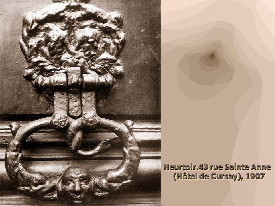 Heurtoir.43 rue Sainte Anne (Hôtel de Cursay), 1907 (Hôtel de Cursay), 1907 Heurtoir.43 rue Sainte Anne (Hôtel de Cursay), 1907 (Hôtel de Cursay), 190