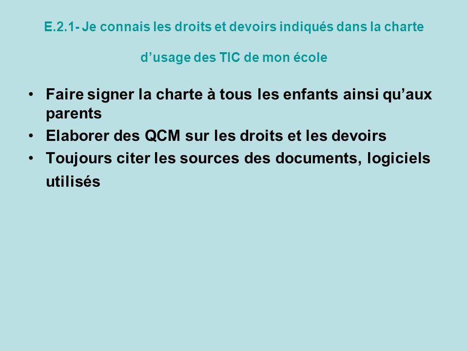 E.2.1- Je connais les droits et devoirs indiqués dans la charte dusage des TIC de mon école Faire signer la charte à tous les enfants ainsi quaux pare