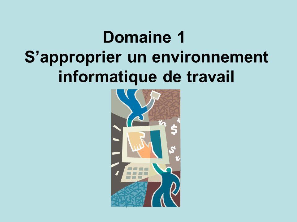 Domaine 1 Sapproprier un environnement informatique de travail