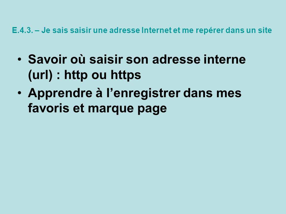 E.4.3. – Je sais saisir une adresse Internet et me repérer dans un site Savoir où saisir son adresse interne (url) : http ou https Apprendre à lenregi