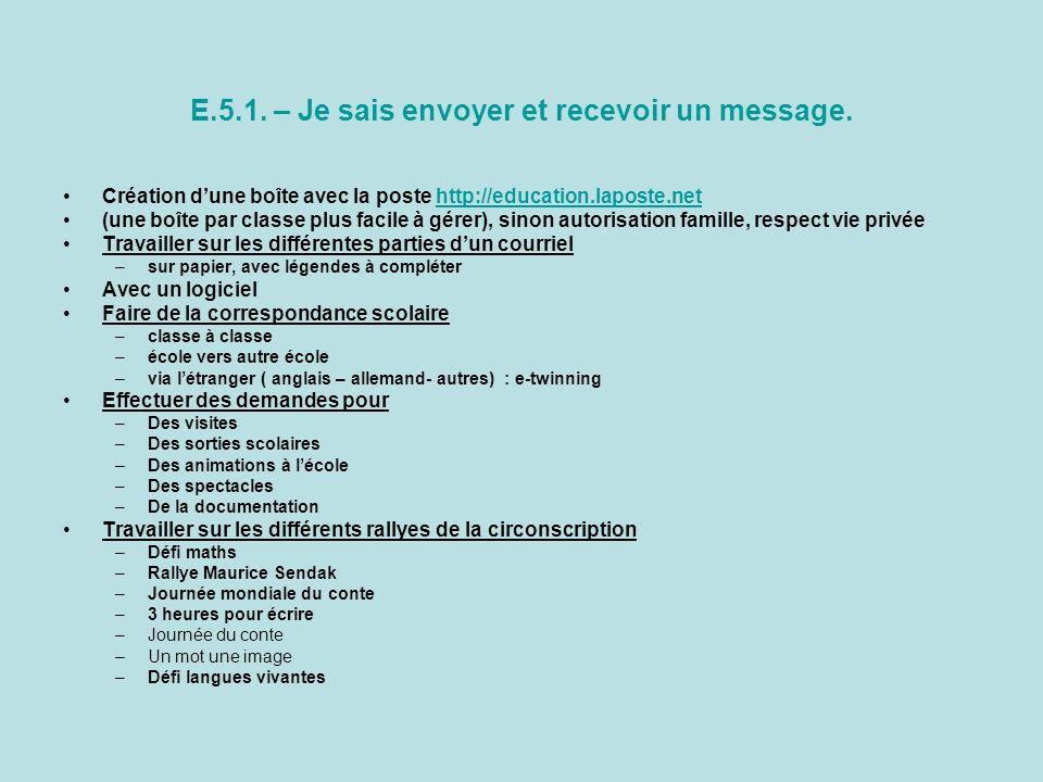 E.5.1. – Je sais envoyer et recevoir un message. Création dune boîte avec la poste http://education.laposte.nethttp://education.laposte.net (une boîte