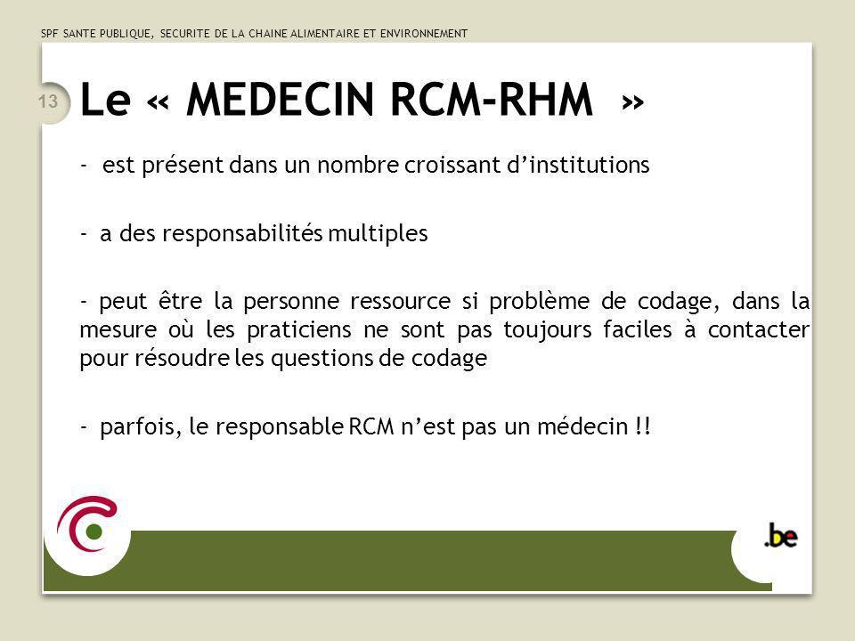 SPF SANTE PUBLIQUE, SECURITE DE LA CHAINE ALIMENTAIRE ET ENVIRONNEMENT 13 Le « MEDECIN RCM-RHM » - est présent dans un nombre croissant dinstitutions