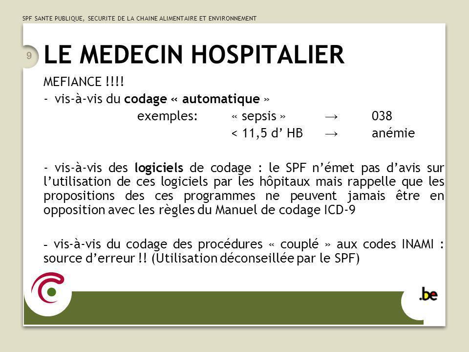 SPF SANTE PUBLIQUE, SECURITE DE LA CHAINE ALIMENTAIRE ET ENVIRONNEMENT 9 LE MEDECIN HOSPITALIER MEFIANCE !!!! - vis-à-vis du codage « automatique » ex