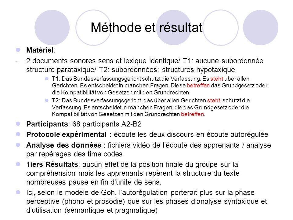 Méthode et résultat Matériel: -2 documents sonores sens et lexique identique/ T1: aucune subordonnée structure parataxique/ T2: subordonnées: structur