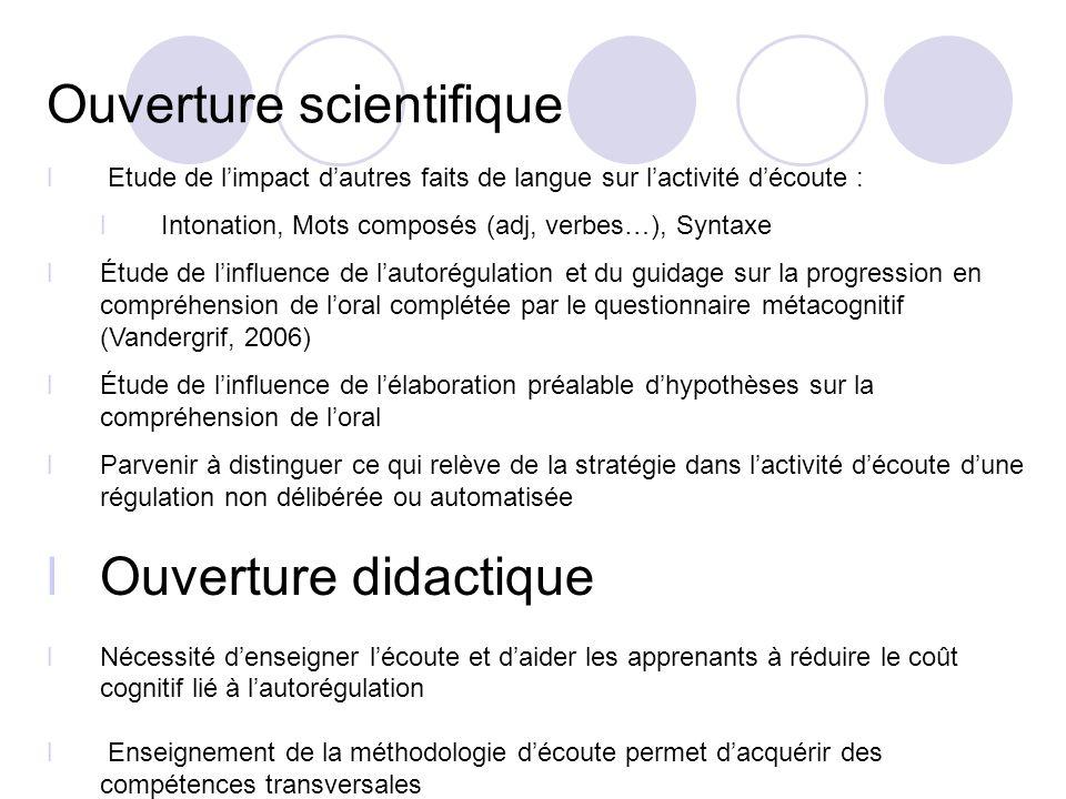 Ouverture scientifique l Etude de limpact dautres faits de langue sur lactivité découte : l Intonation, Mots composés (adj, verbes…), Syntaxe lÉtude d