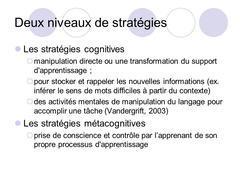 Deux niveaux de stratégies Les stratégies cognitives manipulation directe ou une transformation du support d'apprentissage ; pour stocker et rappeler