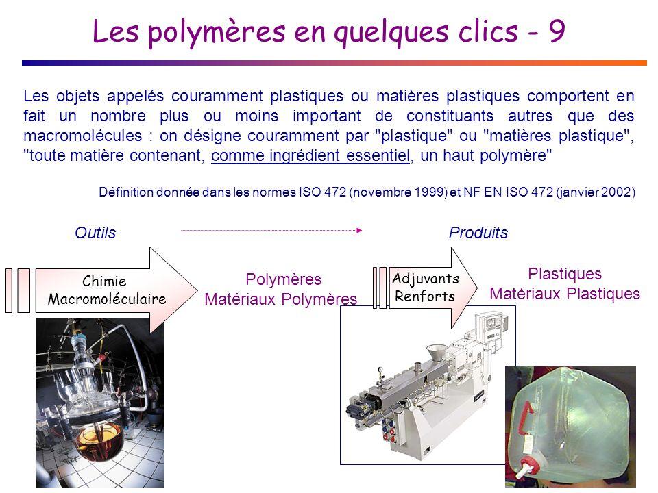 Les polymères en quelques clics - 9 Les objets appelés couramment plastiques ou matières plastiques comportent en fait un nombre plus ou moins important de constituants autres que des macromolécules : on désigne couramment par plastique ou matières plastique , toute matière contenant, comme ingrédient essentiel, un haut polymère Définition donnée dans les normes ISO 472 (novembre 1999) et NF EN ISO 472 (janvier 2002) Chimie Macromoléculaire Polymères Matériaux Polymères OutilsProduits Plastiques Matériaux Plastiques Adjuvants Renforts