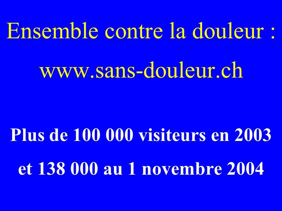 Ensemble contre la douleur : www.sans-douleur.ch Plus de 100 000 visiteurs en 2003 et 138 000 au 1 novembre 2004