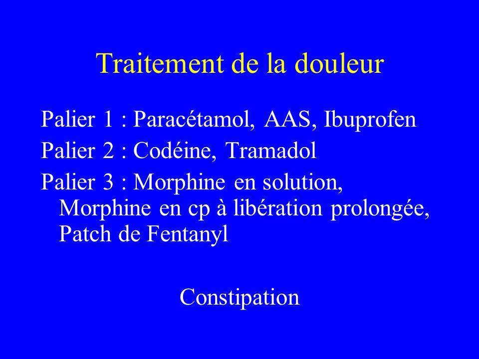 Traitement de la douleur Palier 1 : Paracétamol, AAS, Ibuprofen Palier 2 : Codéine, Tramadol Palier 3 : Morphine en solution, Morphine en cp à libérat
