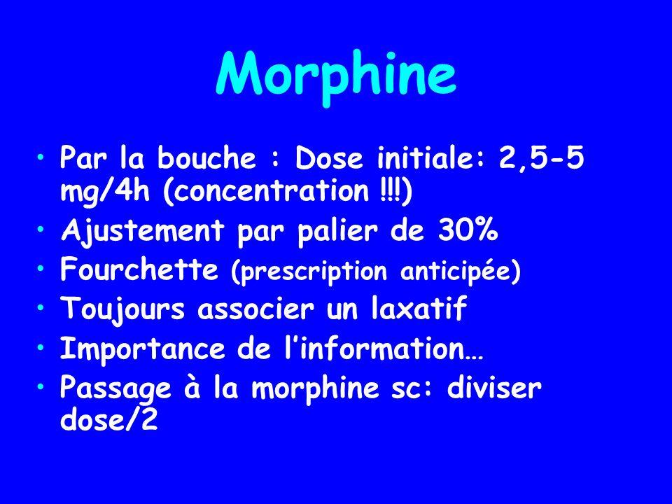 Morphine Par la bouche : Dose initiale: 2,5-5 mg/4h (concentration !!!) Ajustement par palier de 30% Fourchette (prescription anticipée) Toujours asso