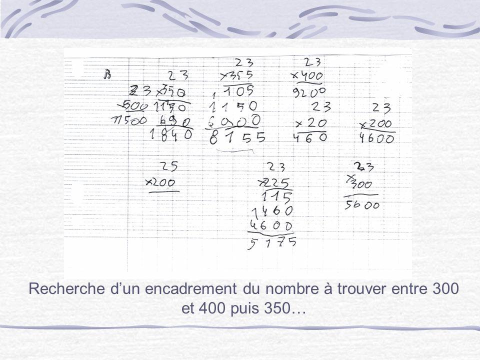 Recherche dun encadrement du nombre à trouver entre 300 et 400 puis 350…