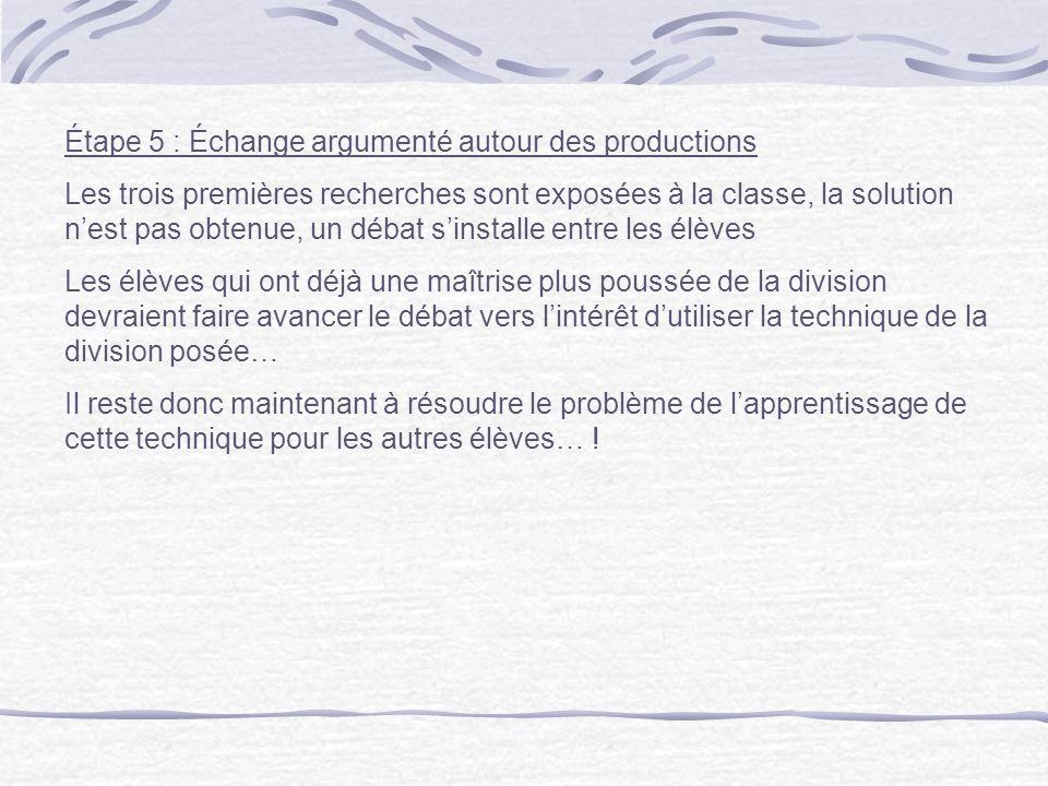Étape 5 : Échange argumenté autour des productions Les trois premières recherches sont exposées à la classe, la solution nest pas obtenue, un débat si