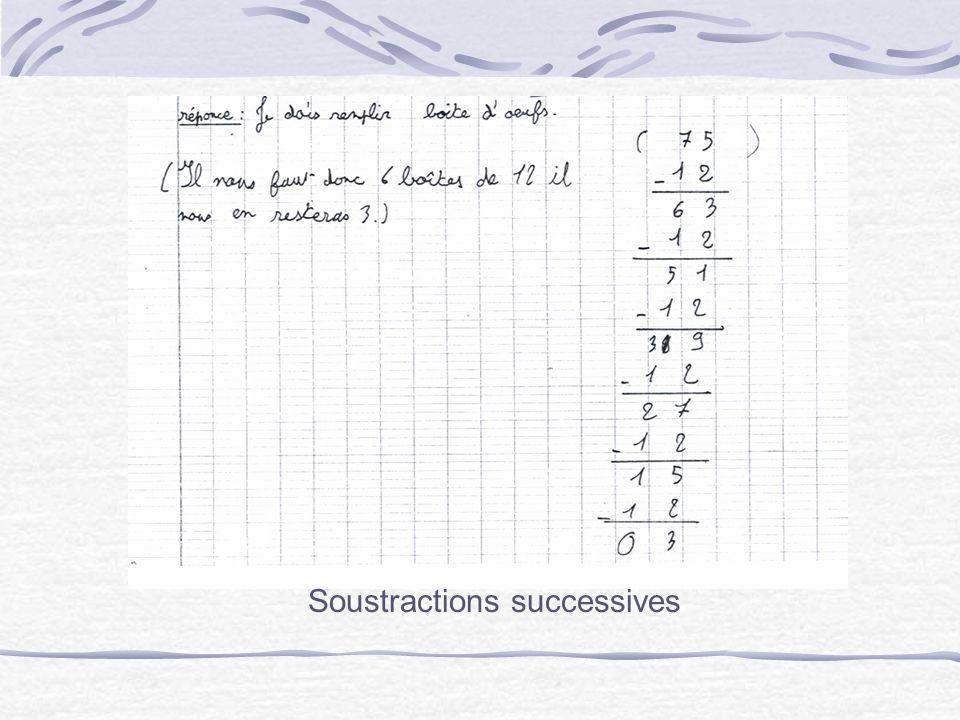 Recherche de multiplication à trou, donc du résultat dune division, donc recherche de paquets de 12 possibles par soustraction.