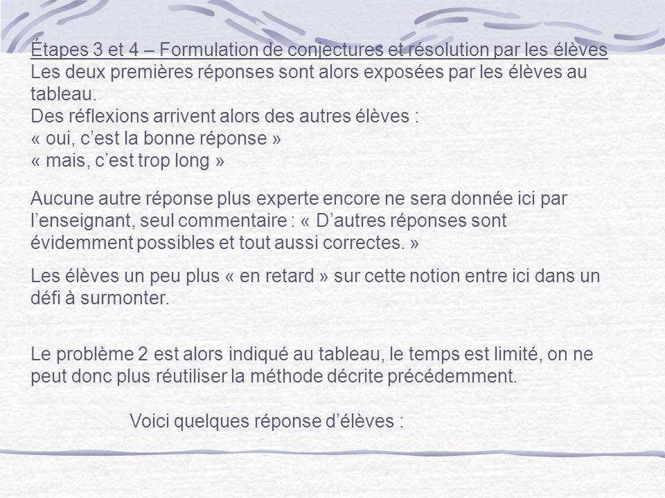 Étapes 3 et 4 – Formulation de conjectures et résolution par les élèves Les deux premières réponses sont alors exposées par les élèves au tableau. Des