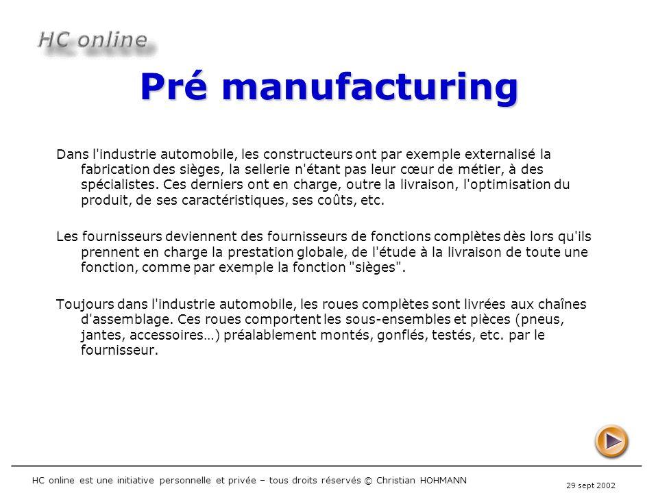 29 sept 2002 HC online est une initiative personnelle et privée – tous droits réservés © Christian HOHMANN Pré manufacturing Dans l'industrie automobi