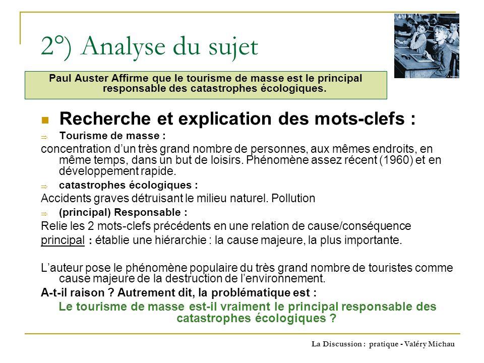 La Discussion : pratique - Valéry Michau 3°) Recherche des Idées association didées + questionnement A partir de : Tourisme de masse : Vacances scolaires = millions de touristes où .