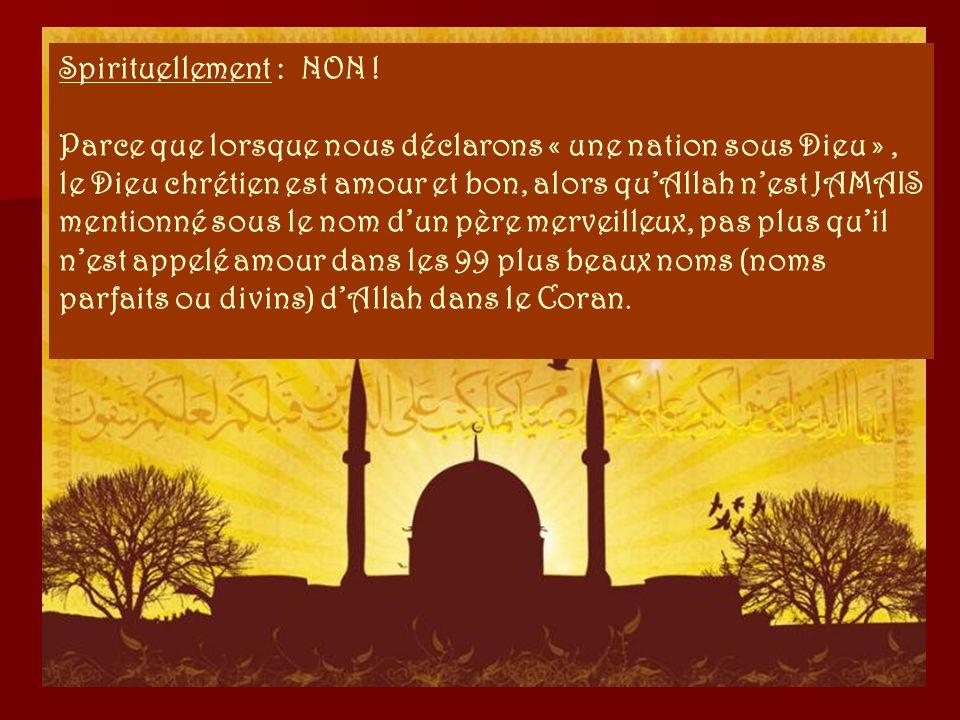 Parce que lIslam, Mahomet et le Coran ne permettent pas la liberté dexpression religieuse. La démocratie et lIslam ne peuvent pas coexister. Chaque go