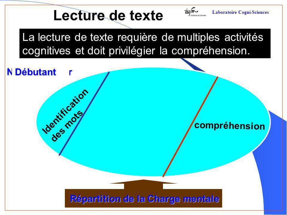 Lecture de texte La lecture de texte requière de multiples activités cognitives et doit privilégier la compréhension. Répartition de la Charge mentale
