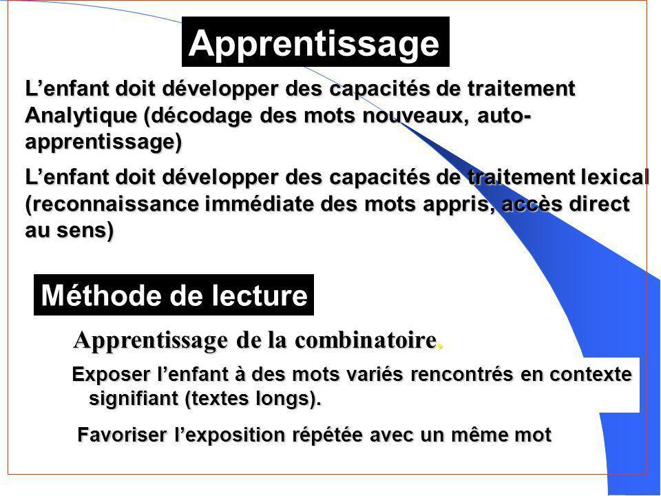 Apprentissage Lenfant doit développer des capacités de traitement Analytique (décodage des mots nouveaux, auto- apprentissage) Lenfant doit développer