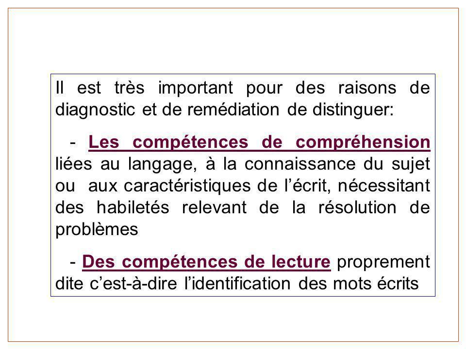 Il est très important pour des raisons de diagnostic et de remédiation de distinguer: - Les compétences de compréhension liées au langage, à la connai