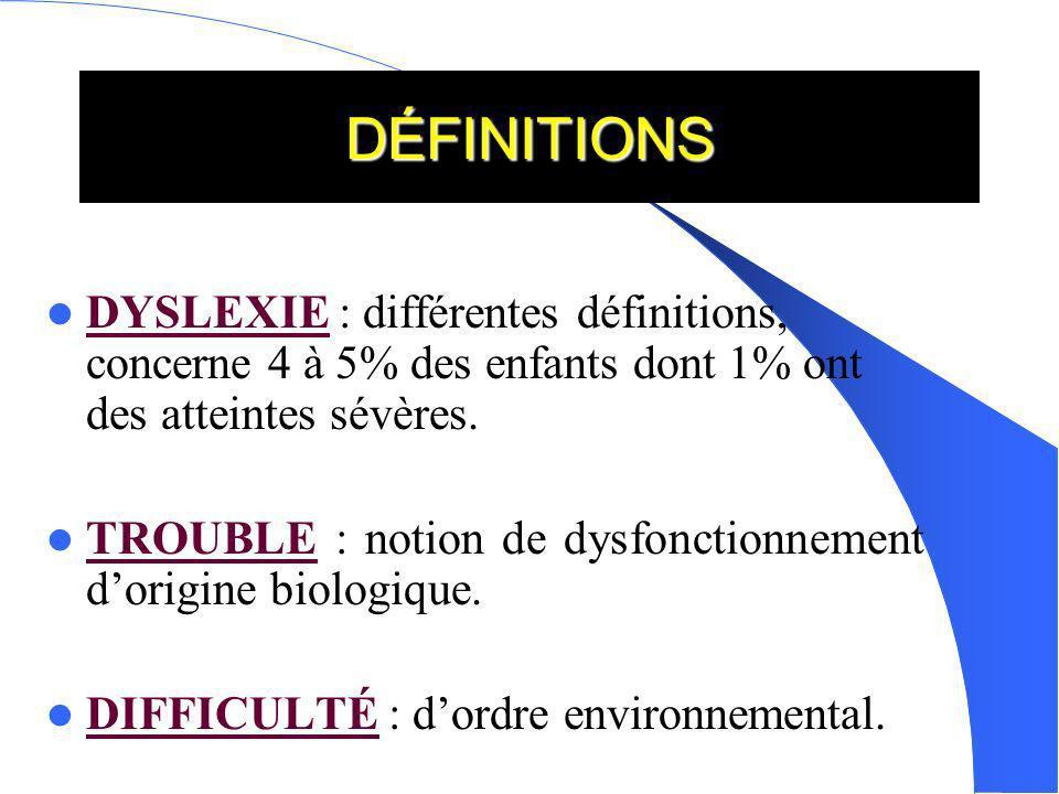 DÉFINITIONS DYSLEXIE : différentes définitions, concerne 4 à 5% des enfants dont 1% ont des atteintes sévères. TROUBLE : notion de dysfonctionnement d