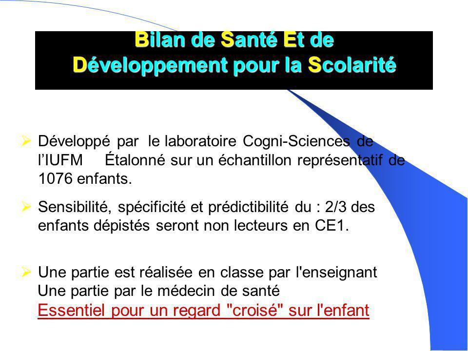 Bilan de Santé Et de Développement pour la Scolarité Développé par le laboratoire Cogni-Sciences de lIUFM Étalonné sur un échantillon représentatif de 1076 enfants.