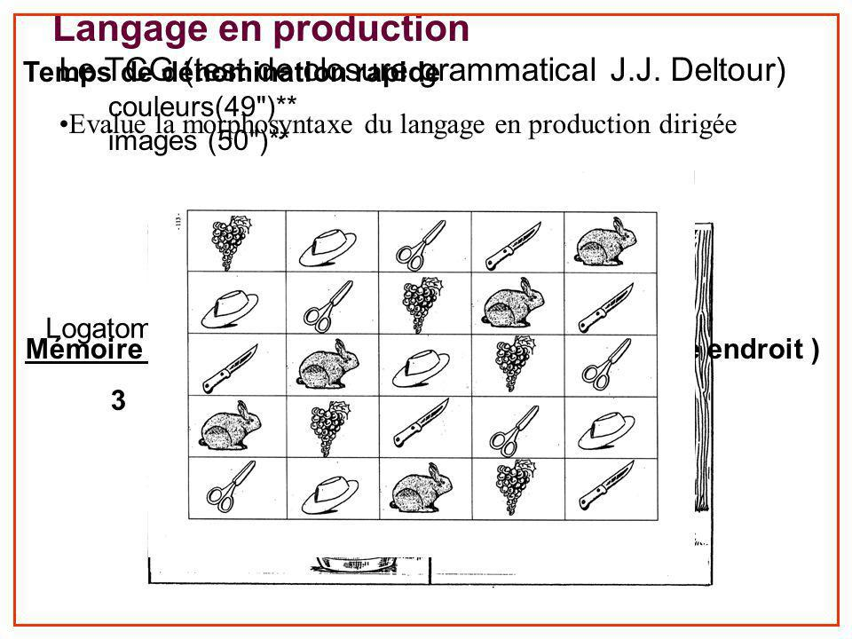Langage en production TCG (15)**/30 Le TCG (test de closure grammatical J.J. Deltour) Evalue la morphosyntaxe du langage en production dirigée Logatom
