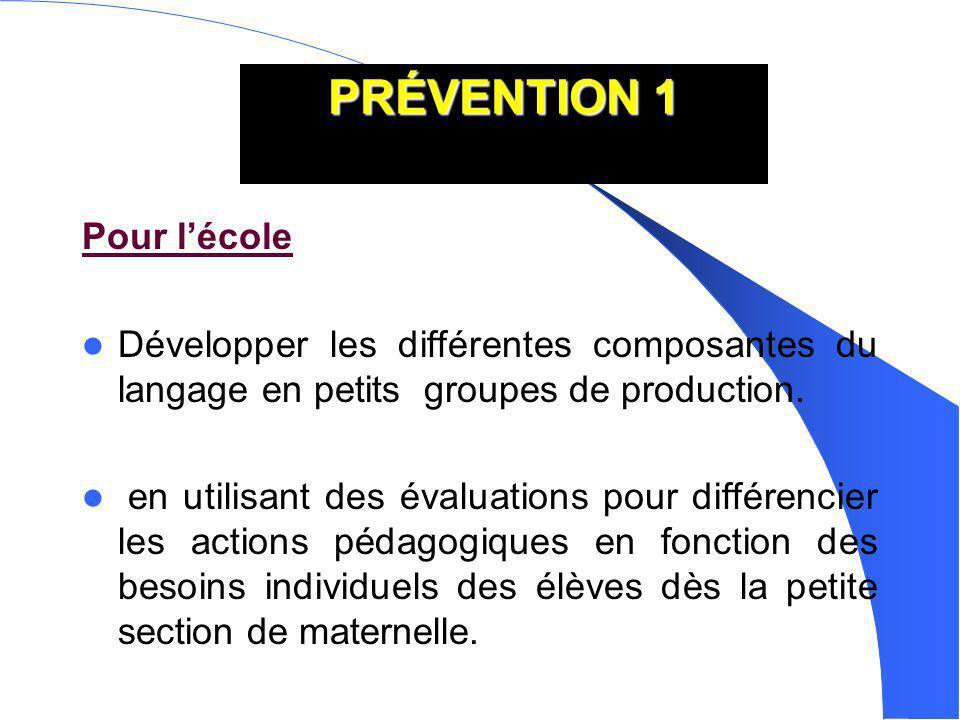 PRÉVENTION 1 Pour lécole Développer les différentes composantes du langage en petits groupes de production. en utilisant des évaluations pour différen