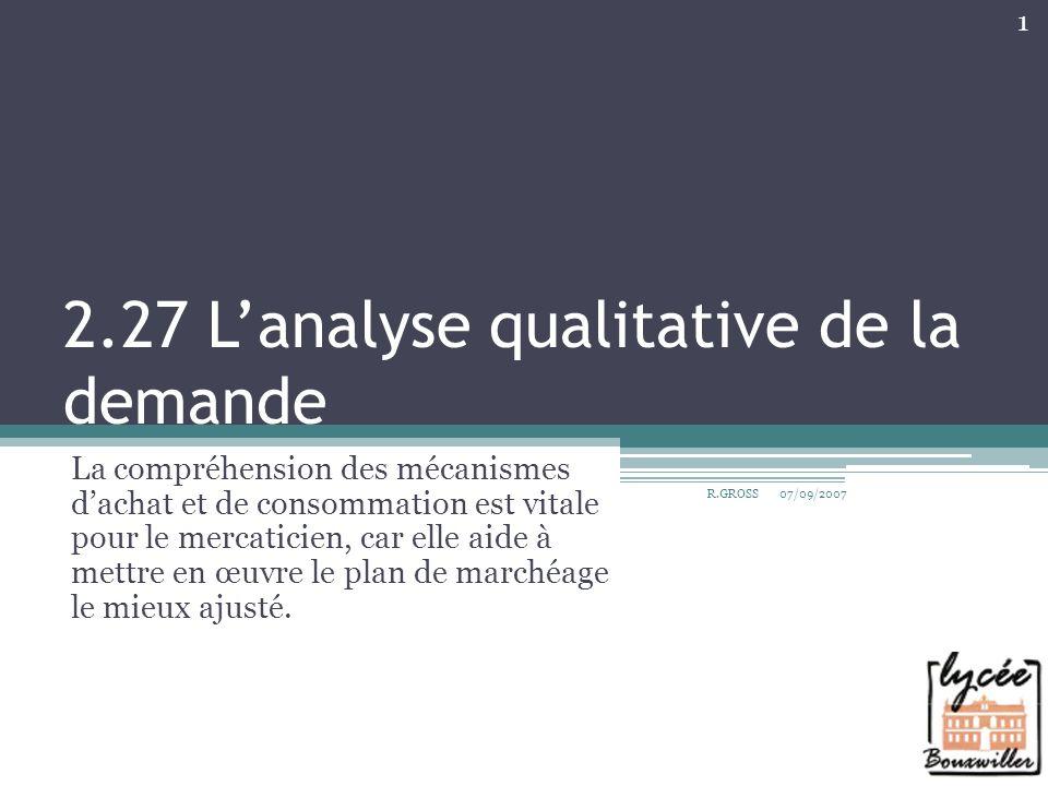 Plan du cours A.Les variables explicatives du comportement du consommateur 1.