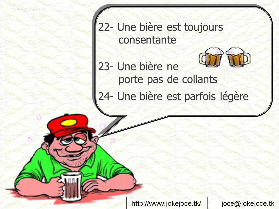 22- Une bière est toujours consentante 23- Une bière ne porte pas de collants 24- Une bière est parfois légère